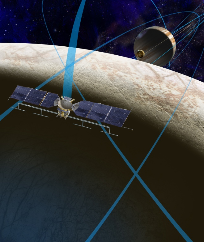 This artist's rendering shows a concept for a future NASA mission to Europa in which a spacecraft would make multiple close flybys of the icy Jovian moon, thought to contain a global subsurface ocean. Credits: NASA/JPL-Caltech