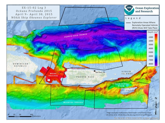 Mission map showing the operating areas, with priority areas outlined in black, for Leg 3 of Océano Profundo 2015: Exploring Puerto Rico's Seamounts, Trenches, and Troughs. Map created with ESRI ArcMap software and data displayed is provided by ESRI, Delorme, GEBCO, USGS, NOAA NGDC, and other contributors. Image courtesy of NOAA Okeanos Explorer Program.