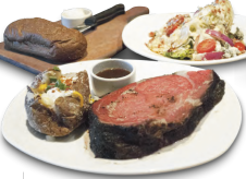 "7) Outback Steakhouse's 16 oz. Herb Roasted Prime Rib (1,400 calories) The 16 oz. prime rib is 1,400 calories alone. For sides, let's say you get the dressed baked potato and the classic blue cheese wedge (it's a ""premium side salad,"" so it'll cost you a buck), and that you eat just half the loaf of bread and use just a light schmear of butter. The tab: 2,400 calories, 71 grams of sat fat (31⁄2 days' worth), and enough sodium (3,560 mg) for today and tomorrow. IMAGE: CSPI website"