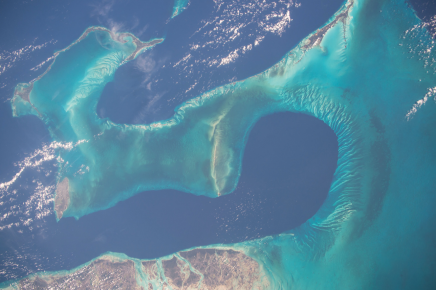 (12/23/2014) --- ESA astronaut Samantha Cristoforetti on the International Space Station captured this warm water image of the aquamarine and turquoise waters around the Bahamas down to the central American countries of Honduras and Nicaragua. (Flickr: nasa2explore)