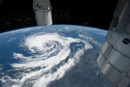 (05/08/2015) --- This image of Tropical Storm Anna taken from the International Space Station displays the view looking south-southeastward from western Virginia towards storm about 200 miles east of Savannah, Georgia, Bahamas and Florida in the distance. (Flickr: nasa2explore)
