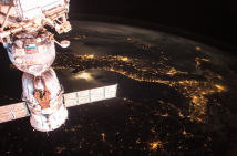 (05/29/2015) --- This nighttime image from the International Space Station shows the Soyuz TMA-15M which carried NASA astronaut Terry Virts, Russian cosmonaut Anton Shkaplerov and ESA astronaut Samantha Cristoforetti to the station and will return them in early June. (Flickr: nasa2explore)