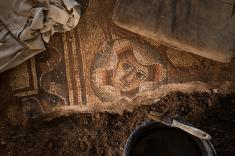 Recent excavations revealed the image of a theater mask at the corner of a mosaic panel. PHOTOGRAPH BY MARK THIESSEN, NATIONAL GEOGRAPHIC