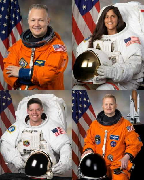 Clockwise from top left: Douglas G. Hurley, Sunita L. Williams, Eric A. Boe, and Robert L. Behnken. PHOTOGRAPHER:  BILL STAFFORD/NASA