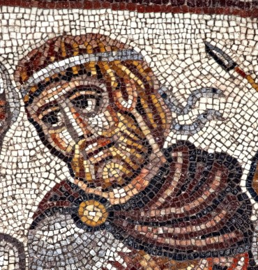 The head of the possible Alexander figure in the mosaic. (Photo by Jim Haberman)