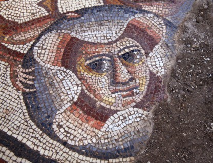 Theatre mask mosaic found in 2015 at Huqoq by Jodi Magness and her archaeological team. (Photo by Jim Haberman)