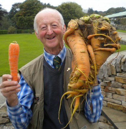 Amateur gardener Peter Glazebrook, 69, from Newark, Nottinghamshire, holds the record for the heaviest carrot (above) which made up in weight what it lacked in beauty — tipping the scales at 20lb 1 oz.