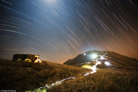 People & Space Winner - Sunset Peak Star Trail by Chap Him Wong (Hong Kong) - 1 November 2014 - Sunset Peak, Lantau Island, Hong Kong