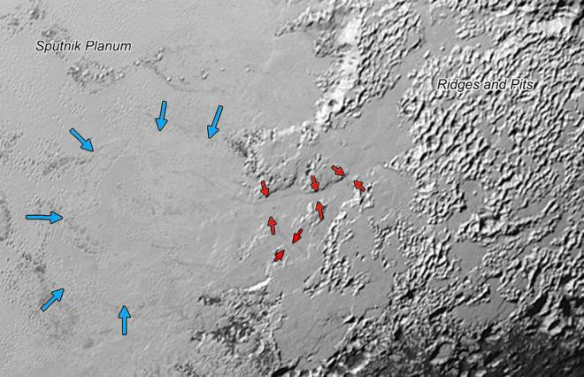 Valley glaciers on Pluto. Credits: NASA/JHUAPL/SwRI