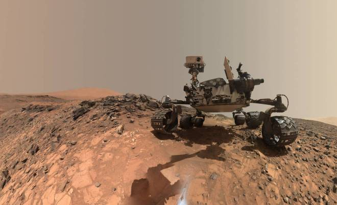 "This low-angle self-portrait of NASA's Curiosity Mars rover shows the vehicle at the site from which it reached down to drill into a rock target called ""Buckskin"" on lower Mount Sharp. Credit: NASA"
